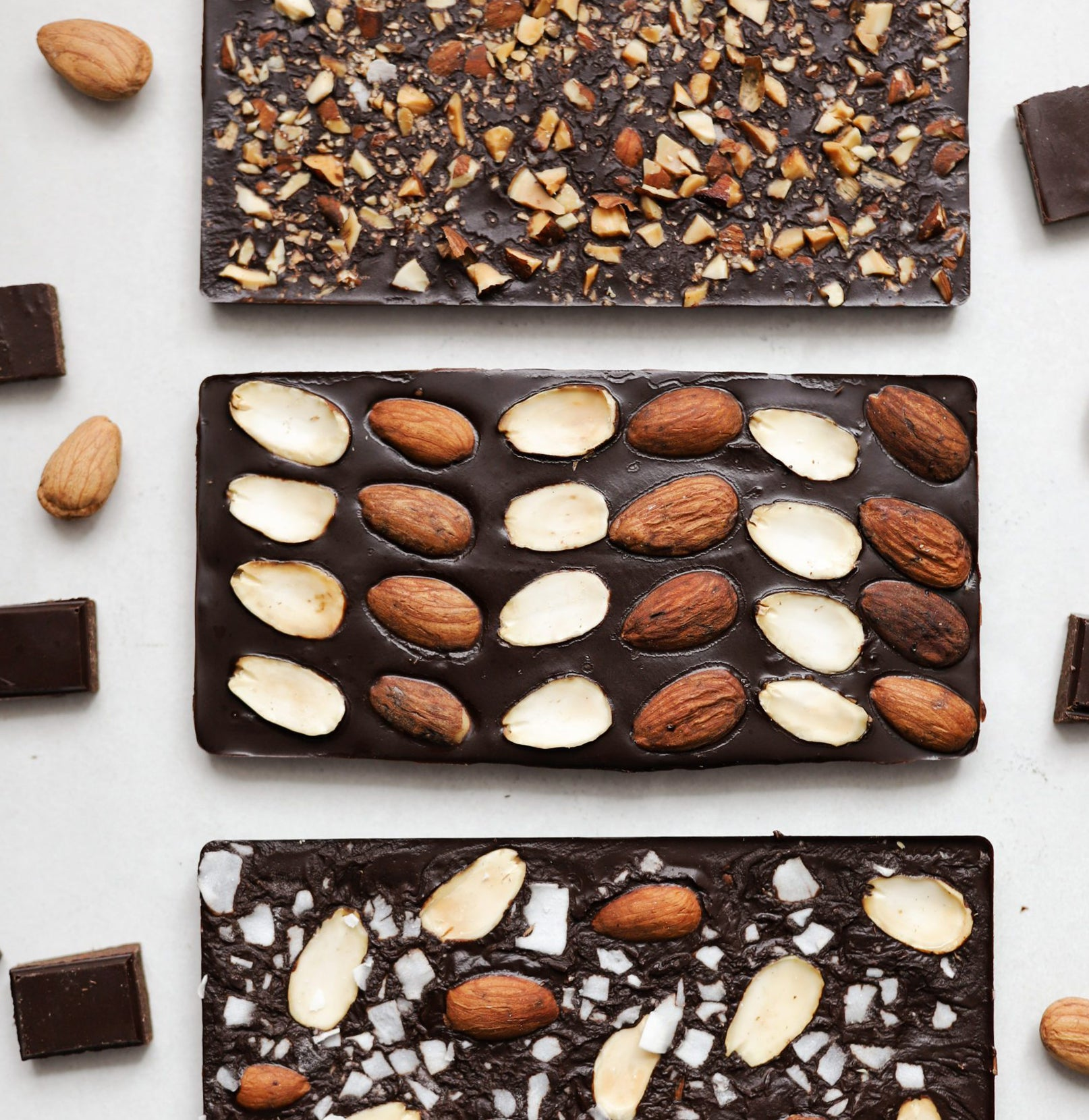 Homemade Dark Chocolate Bars With Almonds