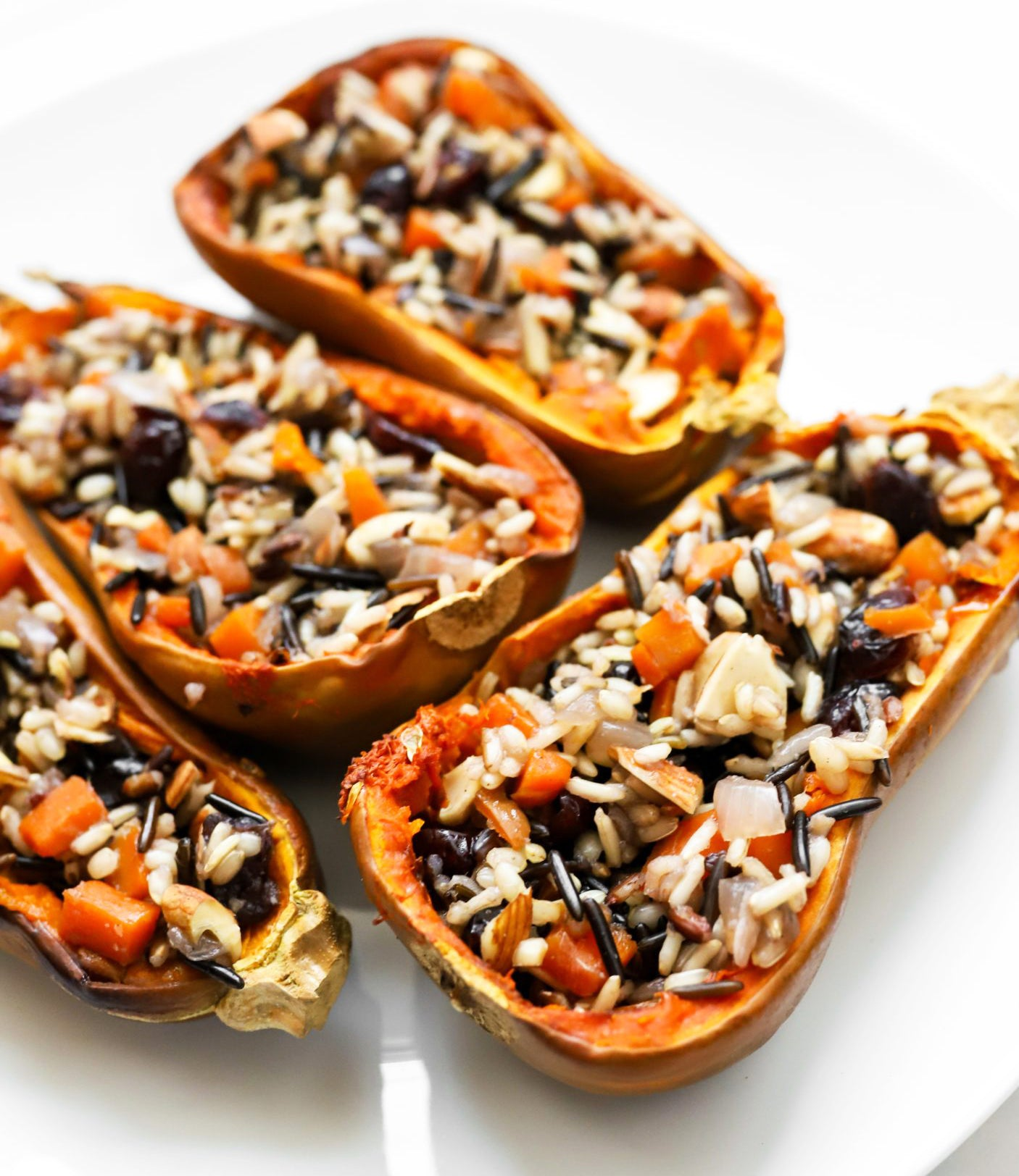 Wild Rice Pilaf Stuffed Squash