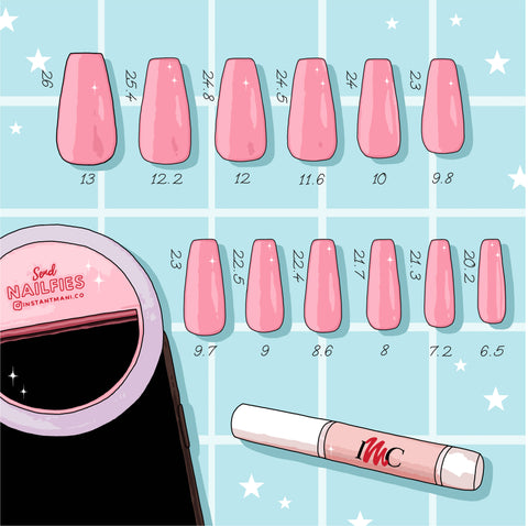 Illustration of Instant Mani Co. press-on nails in medium length size guide.