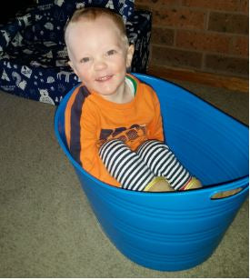 William sitting in a bucket