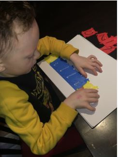 William using handwriting stencils
