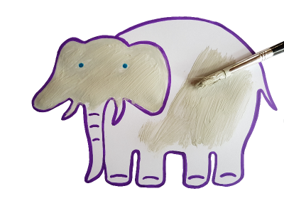 Painting the Elephant stencil drawing