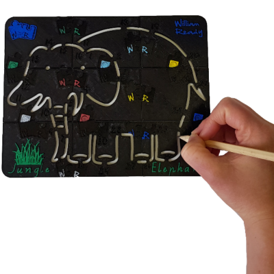 Using Elephant stencil to practice fine motor skills