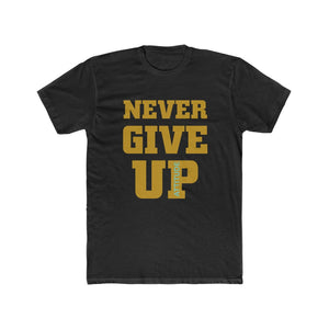 Never Give Up Black Men's Cotton Crew Tee