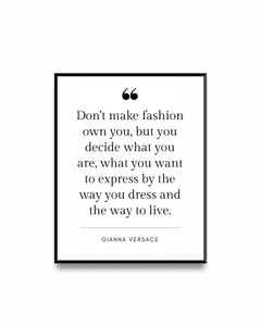 Fashion Poster Quote Gianni Versace