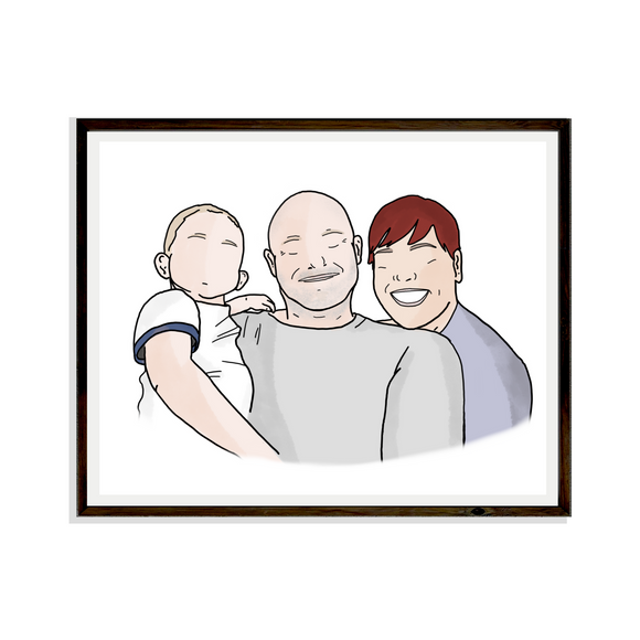 Drawing Family Digital Portrait Bespoke Artwork Handdrawn Print Portrait