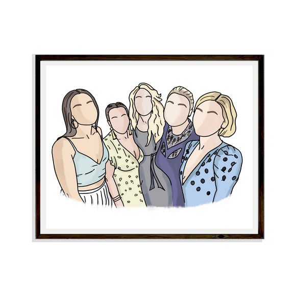 Drawing Family Digital Portrait Bespoke Artwork Hand drawn Print Portrait