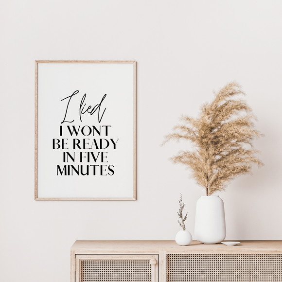 I lied Fashion Block Letter Dressing Room Poster Print Artwork Wall Art