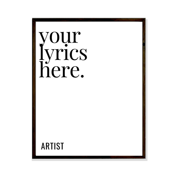 customise your own lyrics poster art
