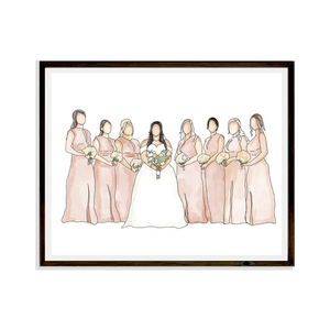 Drawing Wedding Digital Portrait Bespoke Artwork Hand drawn Print Portrait