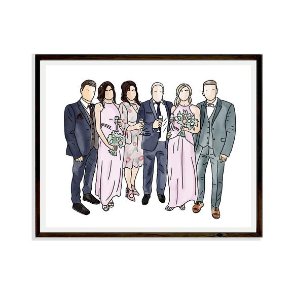 Drawing Family Wedding Digital Portrait Bespoke Artwork Hand drawn Print Portrait