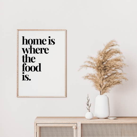 Home Is Where The Food Is Kitchen Wall Art Poster Print
