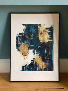 Hand Painted Gold Leaf Abstract Painting