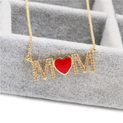 Red Heart Copper Cubic Zirconia Heart Necklace Pendant Long Snake Chain Mothers Day Jewelry Gift