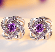 K3N VENTURES earrings Purple Crystal Flower Stud Earrings Jewelry