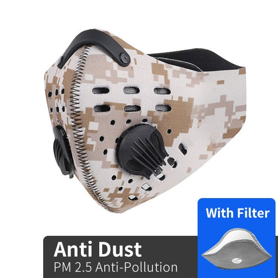 Long Life Cycling Biking Sports Face Mask - Activated Carbon Filter