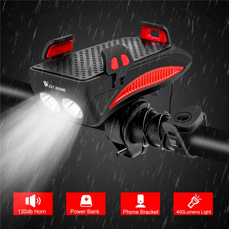 4 IN 1 - Multifunction Bicycle Front Light - Horn - Phone Holder - Power Bank