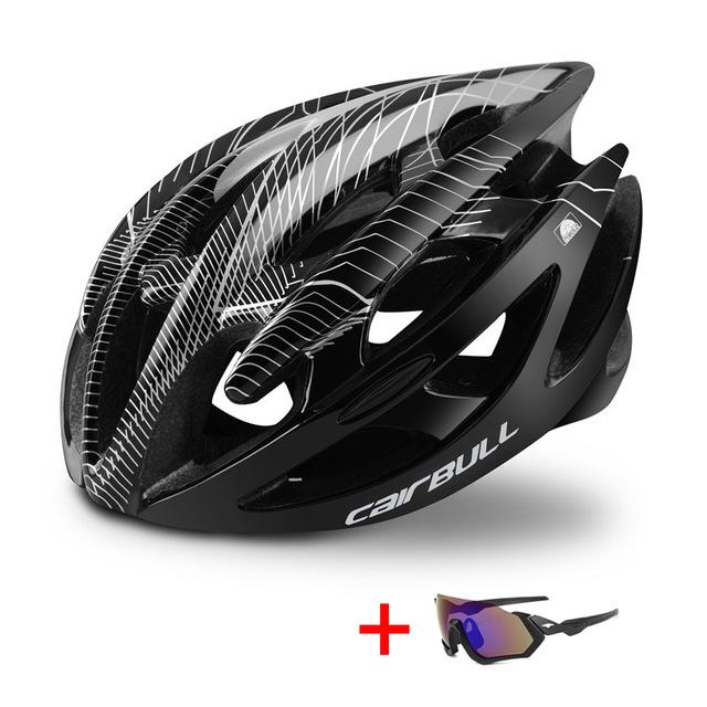 TRAIL DH MTB Bicycle Helmet with Sunglasses - Ultralight Racing Cycling Helmet