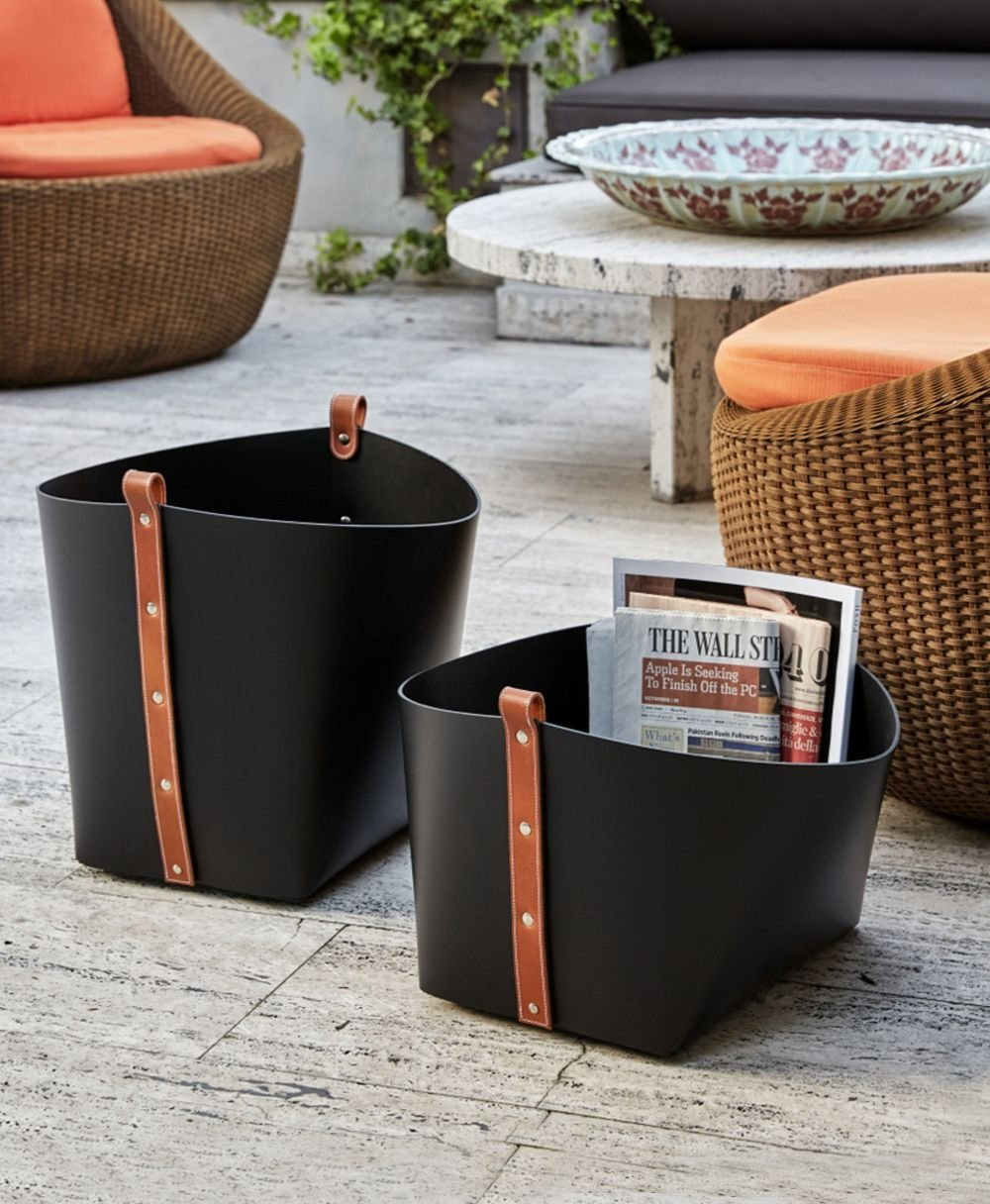 Small Leather Magazine Basket Black with Brown Strap