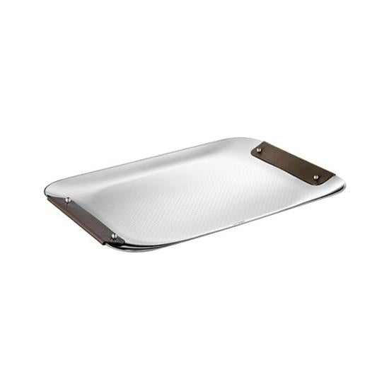 Large Steel Tray with Calf Bronze Leather Handles