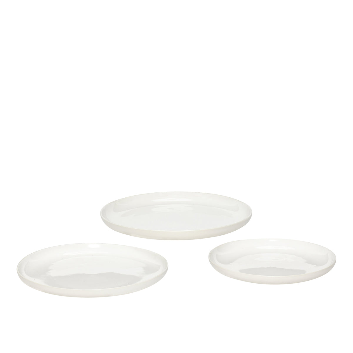 White Porcelain Plates, Set of 3