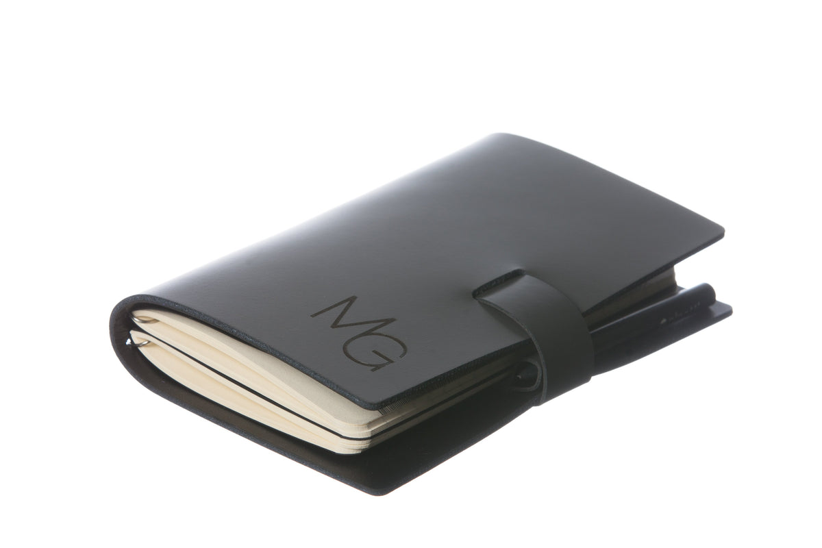 Large White Elaine Leather Notebook