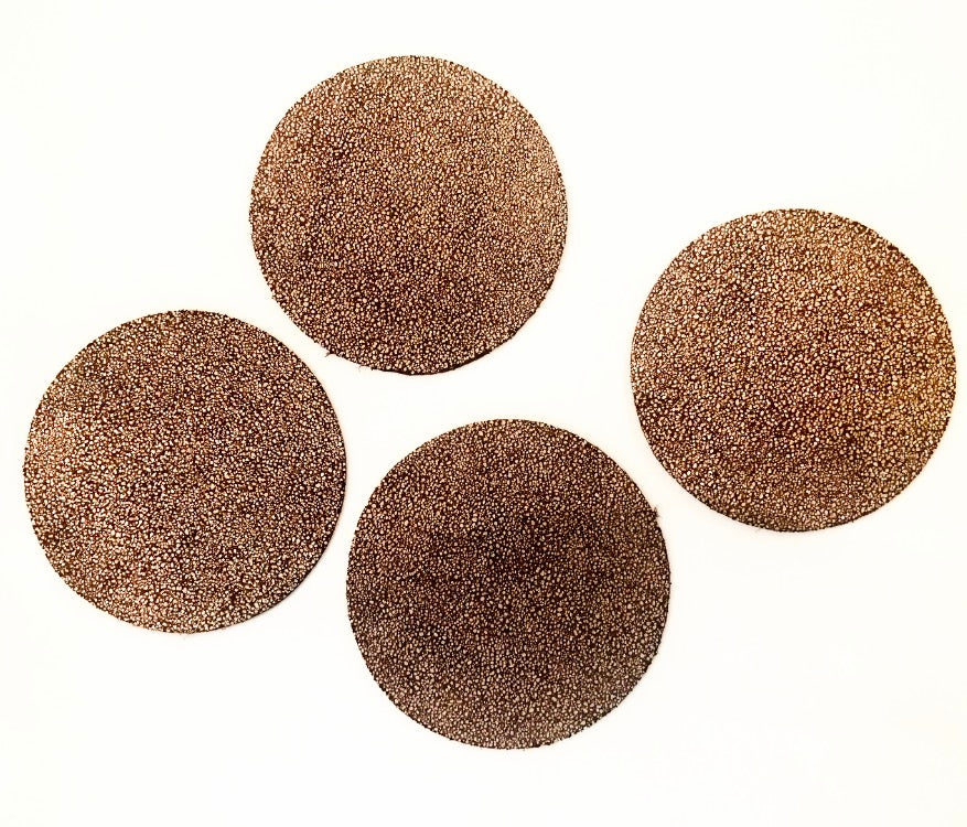 Round Leather Coasters, Natural and Silver