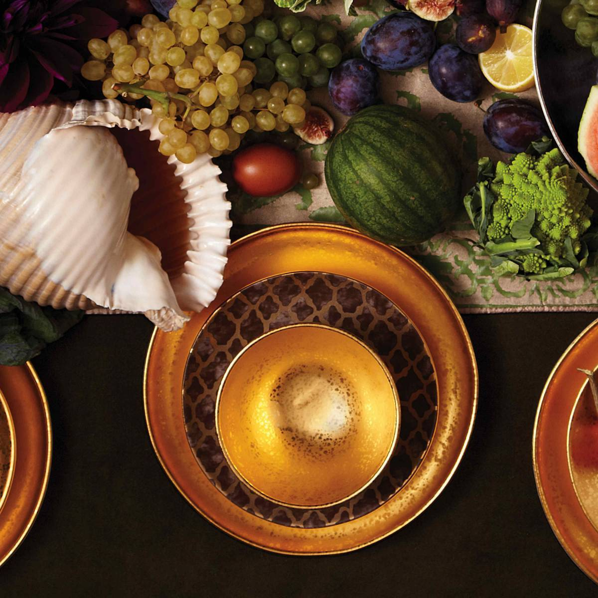 Fortuny Ashanti Dessert Plates (Set of 4)- Gold/Grey