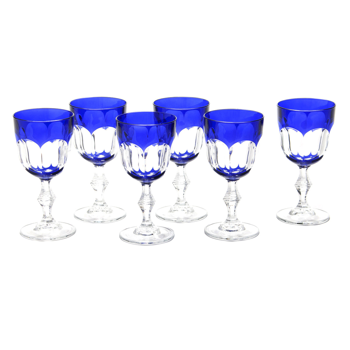 Set of 6 Nicole Blue Wine Glasses