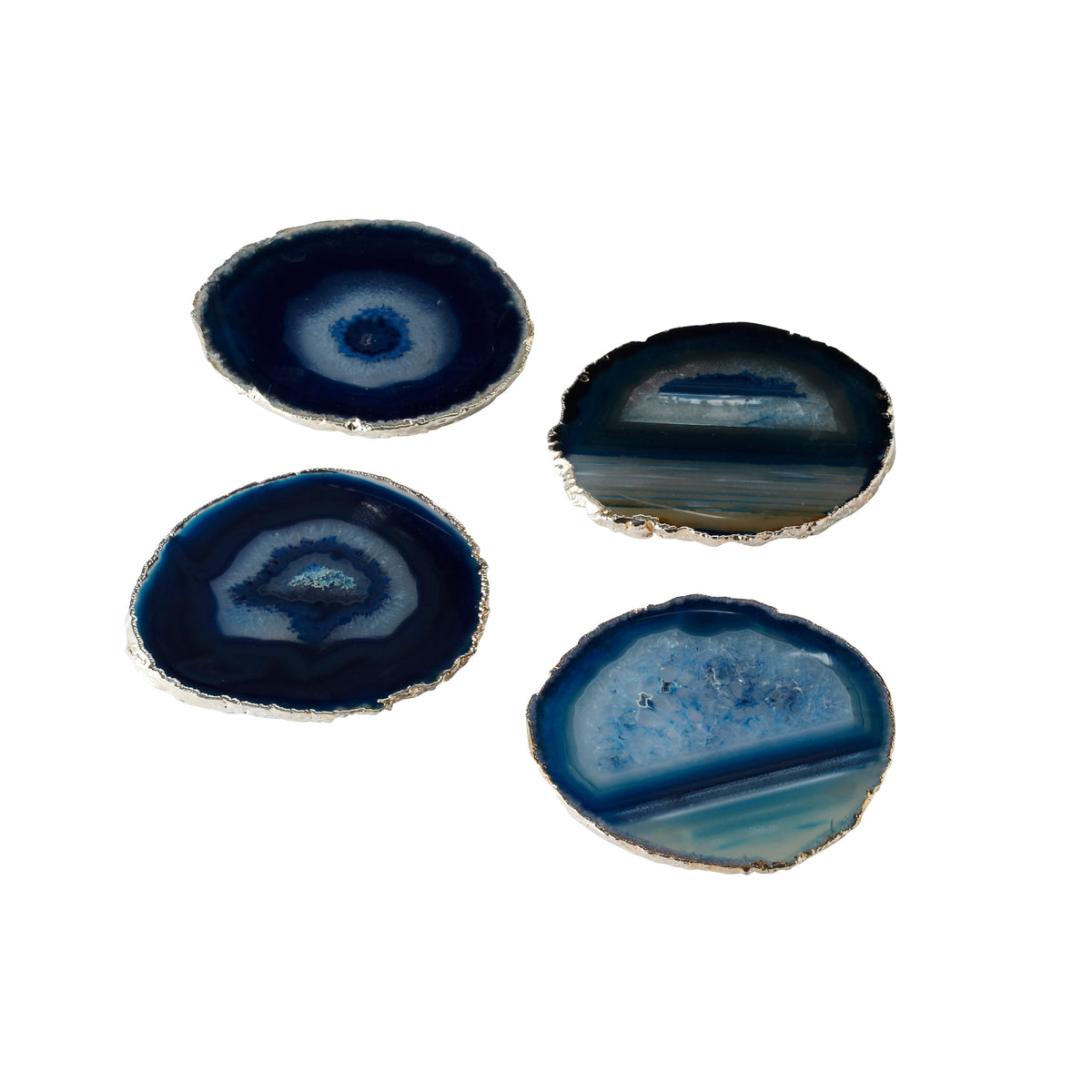 Blue Agate Coasters with Gold Trim