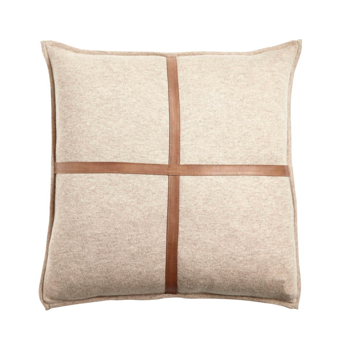 Taupe Cashmere and Suede Pillow
