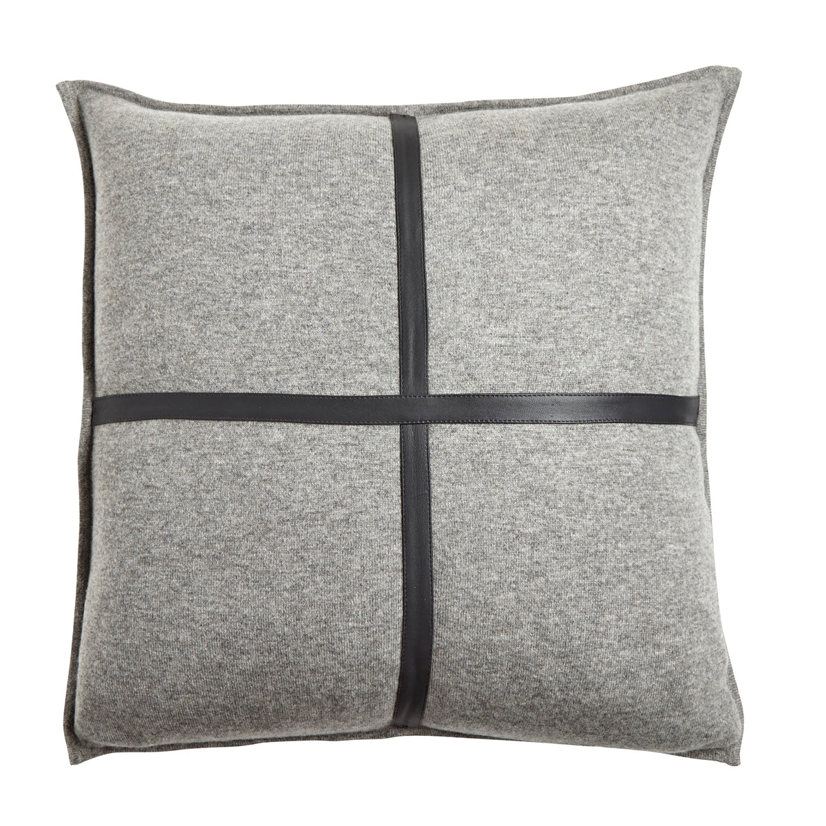 Palermo Grey Cashmere and Black Leather Pillow