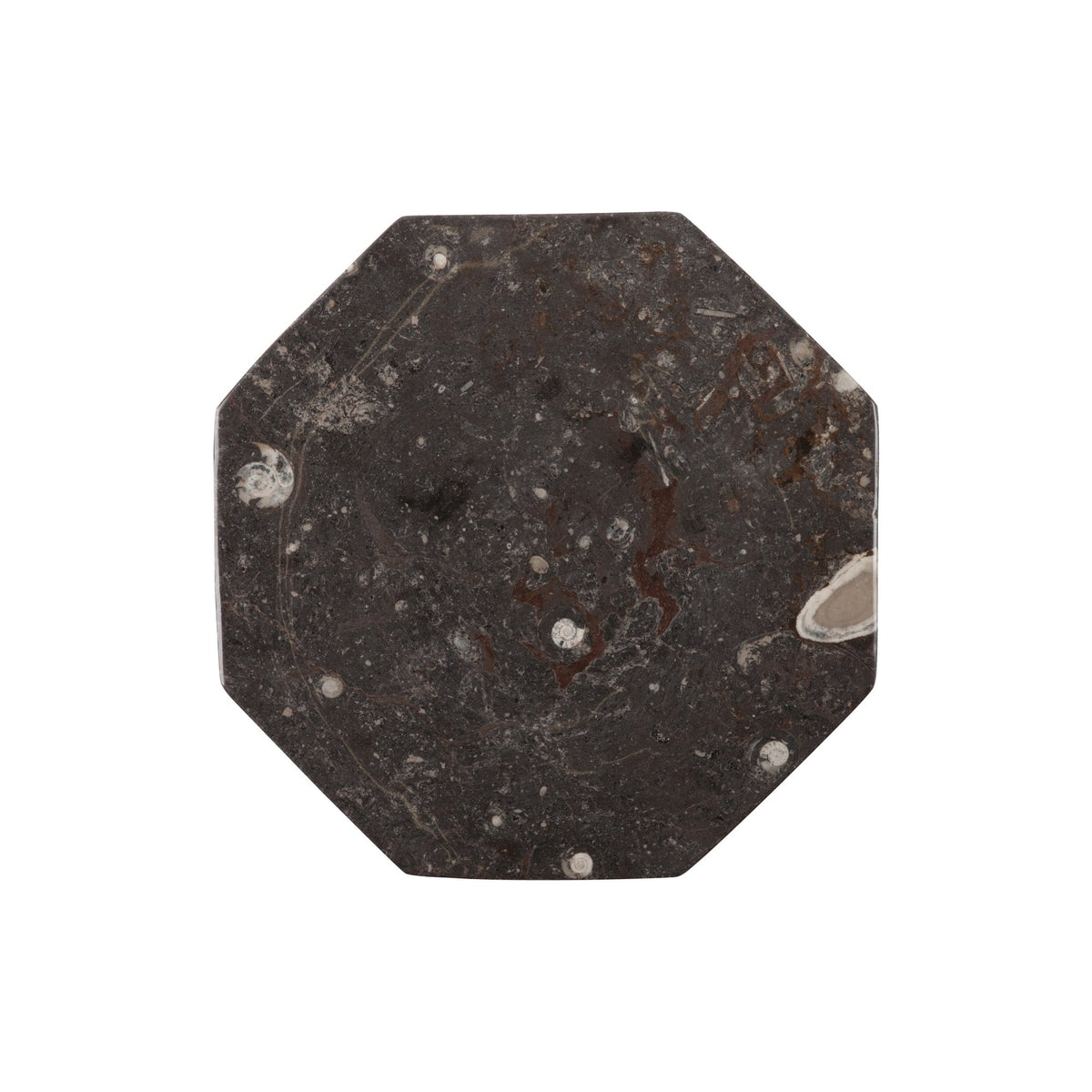 Octagonal Black Fossil Plate