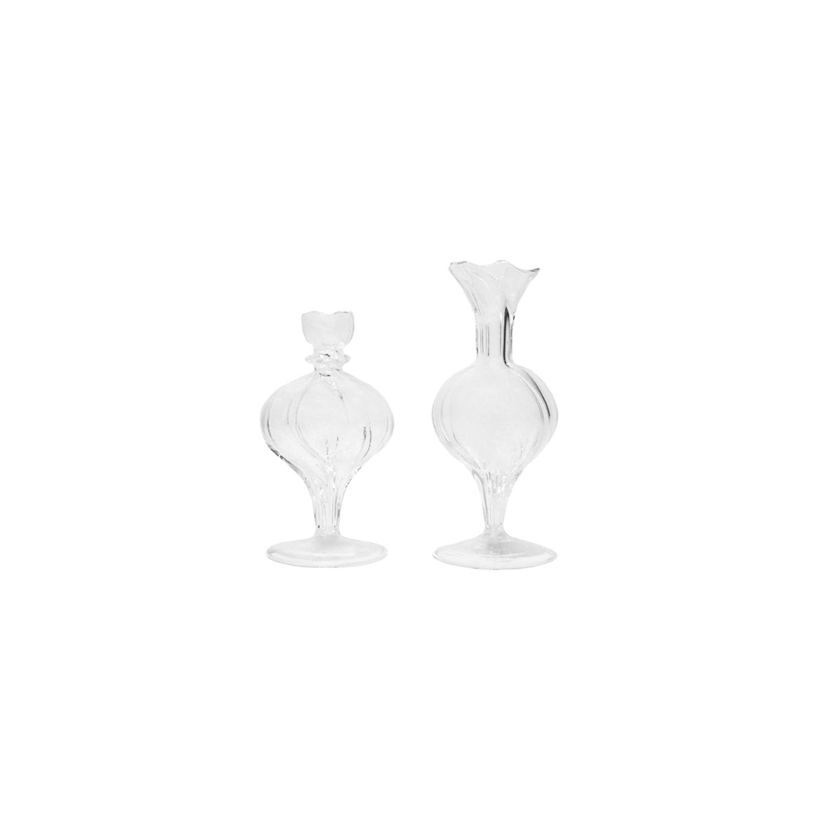 Medium Spherical Vase, Clear, Set of 2