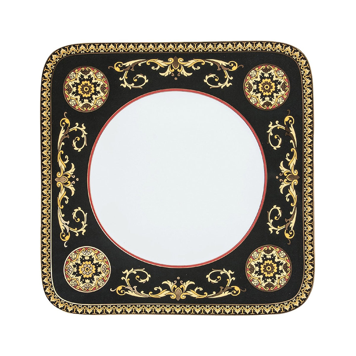 Medusa Red Porcelain Dinner Plate Square