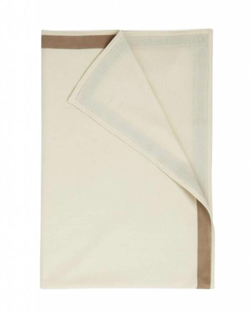 Palermo Cashmere Throw with Suede Border- Ivory