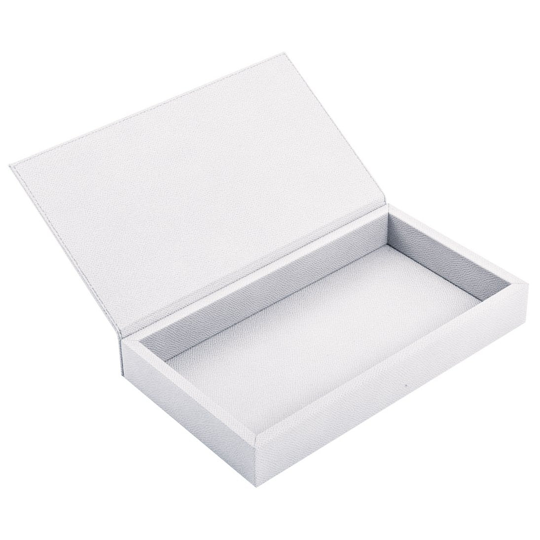 White Rectangular Box with Leather Lid