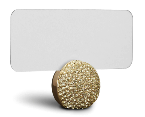 Pave Sphere Place Card Holders, Gold (Set of 6)
