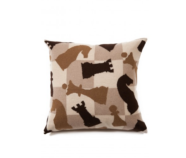 Chess Cashmere Blend Pillow Beige