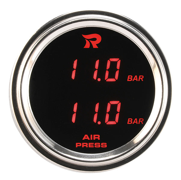 RICO Digital Waterproof Dual air pressure suspension gauge BAR RED LED