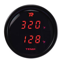 Load image into Gallery viewer, RICO Digital Dual display Temperature gauge RED backlit Fahrenheit