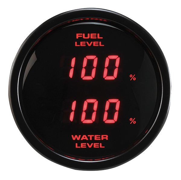 RICO Digital Dual display Fuel Level and Water level gauge RED backlit (0-180 ohms) SENSOR SOLD SEPARATELY