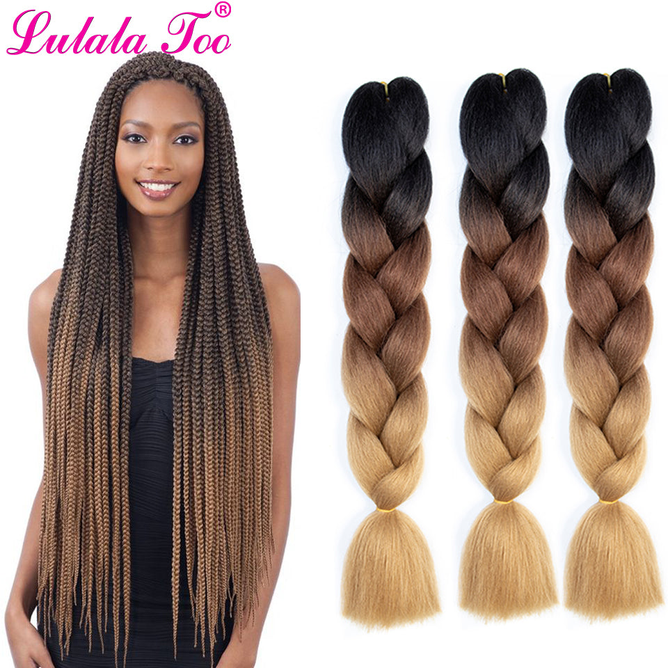 24inch Jumbo Braids Crochet Hair Ombre Synthetic Braiding Hair Crochet Braids 100g/Pc Pink Blue Grey Hair Extensions African