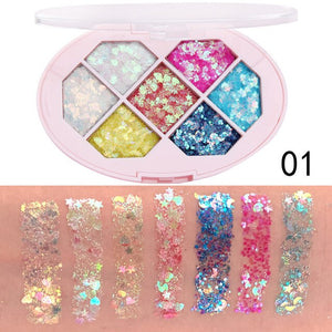Pro 7 Colors Glitter Shimmer Eye Shadow Pallete Pigment Eyes Makeup Palette Waterproof Make Up Eyeshadow Palette Maquillage