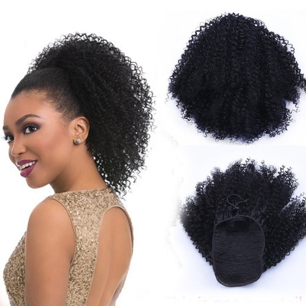 Puff Afro Kinky Curly Drawstring Ponytail Wig African American Short Wrap Synthetic Clip on Pony Tail Hair Extensions