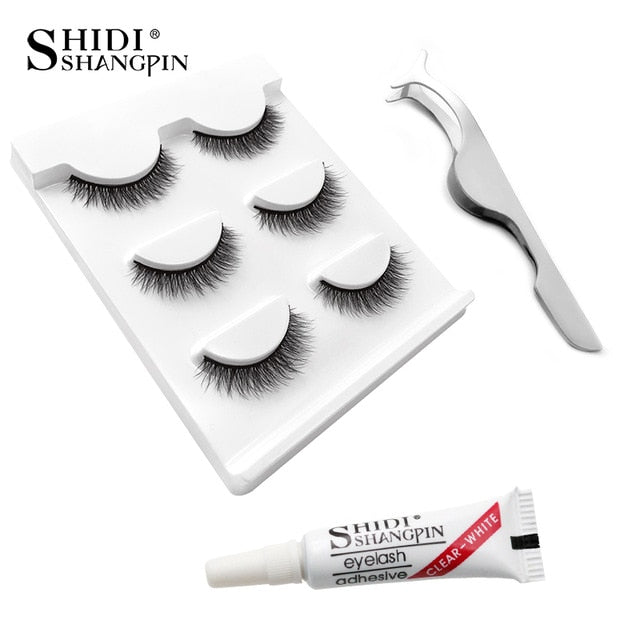 Eyelashes 3d mink lashes natural long make up false eyelashes 10mm eyelash glue makeup eye lashes tweezers 3d lashes maquiagem