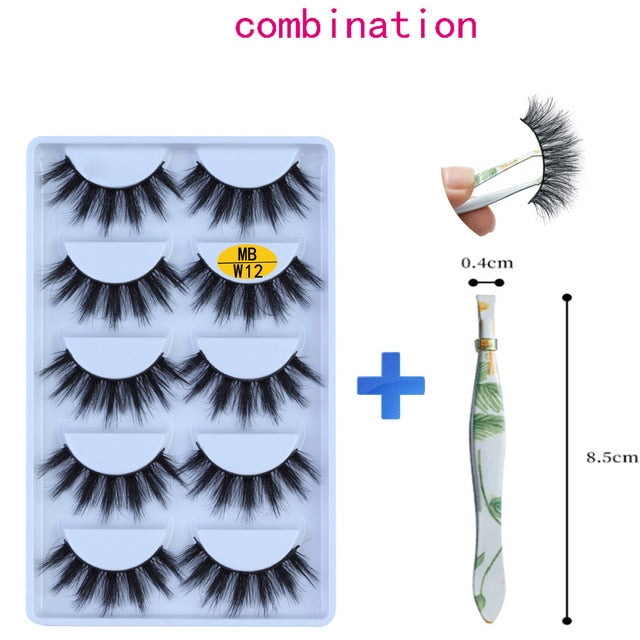NEW 5 pairs Mink Eyelashes Set 3D 100% False Lashes Makeup Eyelash Extension faux cils Natural fluffy Volume Soft Fake Eye Lashe