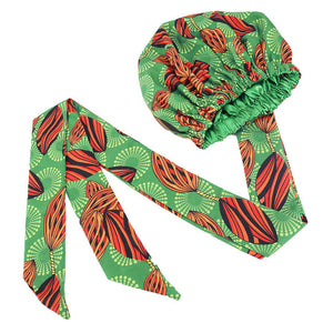 Helisopus African Print Satin Bonnet with Long Ribbon Wrap Women Double Layer Head Scarf Ankara Pattern Hair Cover Accessories