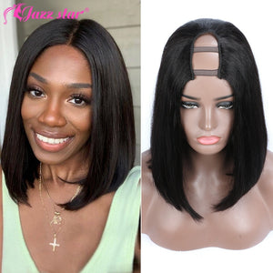 Brazilian Bob Wig Straight U Part Wig Human Hair Wigs for Women Non-Remy 150% Density Jazz Star Perruque Cheveux Humain