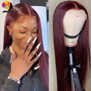 Peruvian Straight Hair 13X1 Lace Front Wig Human Hair Wigs 99J Red Burgundy Pre-Plucked 180% Remy Human Hair Deep Part Wigs